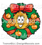 Stock Mascot Cartoon of a Golden Police Badge Mascot Cartoon Character in the Center of a Christmas Wreath by Toons4Biz