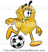 Stock Mascot Cartoon of a Golden Police Badge Mascot Cartoon Character Kicking a Soccer Ball by Toons4Biz