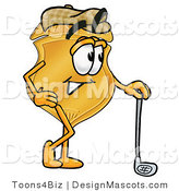 Stock Mascot Cartoon of a Golden Police Badge Mascot Cartoon Character Leaning on a Golf Club While Golfing by Toons4Biz