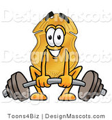 Stock Mascot Cartoon of a Golden Police Badge Mascot Cartoon Character Lifting a Heavy Barbell by Toons4Biz
