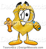 Stock Mascot Cartoon of a Golden Police Badge Mascot Cartoon Character Looking Through a Magnifying Glass by Toons4Biz