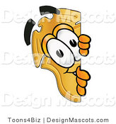 Stock Mascot Cartoon of a Golden Police Badge Mascot Cartoon Character Peeking Around a Corner by Toons4Biz