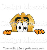 Stock Mascot Cartoon of a Golden Police Badge Mascot Cartoon Character Peeking over a Surface by Toons4Biz