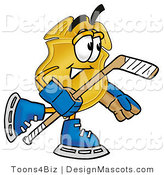 Stock Mascot Cartoon of a Golden Police Badge Mascot Cartoon Character Playing Ice Hockey by Toons4Biz