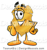 Stock Mascot Cartoon of a Golden Police Badge Mascot Cartoon Character Pointing at the Viewer by Toons4Biz