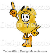 Stock Mascot Cartoon of a Golden Police Badge Mascot Cartoon Character Pointing Upwards by Toons4Biz