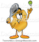 Stock Mascot Cartoon of a Golden Police Badge Mascot Cartoon Character Preparing to Hit a Tennis Ball by Toons4Biz