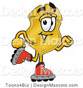 Stock Mascot Cartoon of a Golden Police Badge Mascot Cartoon Character Roller Blading on Inline Skates by Toons4Biz
