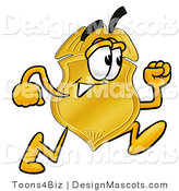 Stock Mascot Cartoon of a Golden Police Badge Mascot Cartoon Character Running by Toons4Biz