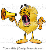 Stock Mascot Cartoon of a Golden Police Badge Mascot Cartoon Character Screaming into a Megaphone by Toons4Biz