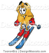 Stock Mascot Cartoon of a Golden Police Badge Mascot Cartoon Character Skiing Downhill by Toons4Biz