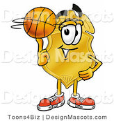 Stock Mascot Cartoon of a Golden Police Badge Mascot Cartoon Character Spinning a Basketball on His Finger by Toons4Biz