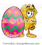 Stock Mascot Cartoon of a Golden Police Badge Mascot Cartoon Character Standing Beside an Easter Egg by Toons4Biz