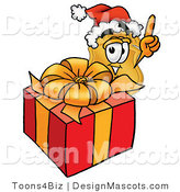 Stock Mascot Cartoon of a Golden Police Badge Mascot Cartoon Character Standing by a Christmas Present by Toons4Biz