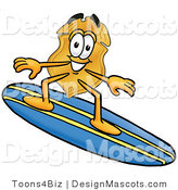 Stock Mascot Cartoon of a Golden Police Badge Mascot Cartoon Character Surfing on a Blue and Yellow Surfboard by Toons4Biz