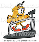 Stock Mascot Cartoon of a Golden Police Badge Mascot Cartoon Character Walking on a Treadmill in a Fitness Gym by Toons4Biz