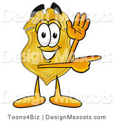 Stock Mascot Cartoon of a Golden Police Badge Mascot Cartoon Character Waving and Pointing by Toons4Biz