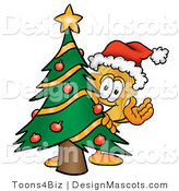 Stock Mascot Cartoon of a Golden Police Badge Mascot Cartoon Character Waving and Standing by a Decorated Christmas Tree by Toons4Biz
