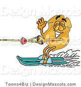 Stock Mascot Cartoon of a Golden Police Badge Mascot Cartoon Character Waving While Water Skiing by Toons4Biz