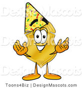 Stock Mascot Cartoon of a Golden Police Badge Mascot Cartoon Character Wearing a Birthday Party Hat by Toons4Biz
