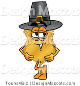 Stock Mascot Cartoon of a Golden Police Badge Mascot Cartoon Character Wearing a Pilgrim Hat on Thanksgiving by Toons4Biz