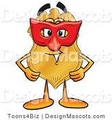 Stock Mascot Cartoon of a Golden Police Badge Mascot Cartoon Character Wearing a Red Mask over His Face by Toons4Biz