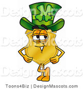 Stock Mascot Cartoon of a Golden Police Badge Mascot Cartoon Character Wearing a Saint Patricks Day Hat with a Clover on It by Toons4Biz