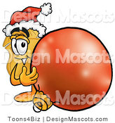 Stock Mascot Cartoon of a Golden Police Badge Mascot Cartoon Character Wearing a Santa Hat, Standing with a Christmas Bauble by Toons4Biz