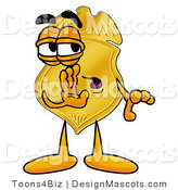 Stock Mascot Cartoon of a Golden Police Badge Mascot Cartoon Character Whispering and Gossiping by Toons4Biz