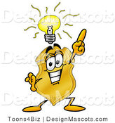 Stock Mascot Cartoon of a Golden Police Badge Mascot Cartoon Character with a Bright Idea by Toons4Biz