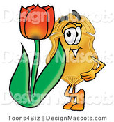Stock Mascot Cartoon of a Golden Police Badge Mascot Cartoon Character with a Red Tulip Flower in the Spring by Toons4Biz
