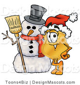 Stock Mascot Cartoon of a Golden Police Badge Mascot Cartoon Character with a Snowman on Christmas by Toons4Biz