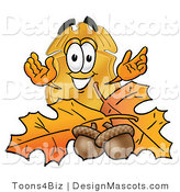 Stock Mascot Cartoon of a Golden Police Badge Mascot Cartoon Character with Autumn Leaves and Acorns in the Fall by Toons4Biz