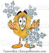 Stock Mascot Cartoon of a Golden Police Badge Mascot Cartoon Character with Three Snowflakes in Winter by Toons4Biz