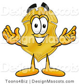 Stock Mascot Cartoon of a Golden Police Badge Mascot Cartoon Character with Welcoming Open Arms by Toons4Biz