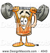 Stock Mascot Cartoon of a Grinning Beer Mug Mascot Cartoon Character Holding a Heavy Barbell Above His Head by Toons4Biz