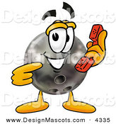 Stock Mascot Cartoon of a Grinning Black Bowling Ball Mascot Cartoon Character Holding a Telephone by Toons4Biz