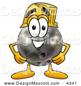 Stock Mascot Cartoon of a Grinning Bowling Ball Mascot Cartoon Character Wearing a Helmet by Toons4Biz
