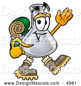 Stock Mascot Cartoon of a Grinning Erlenmeyer Conical Laboratory Flask Beaker Mascot Cartoon Character Hiking and Carrying a Backpack by Toons4Biz