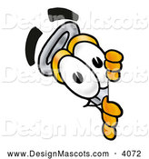 Stock Mascot Cartoon of a Grinning Erlenmeyer Conical Laboratory Flask Beaker Mascot Cartoon Character Peeking Around a Corner by Toons4Biz