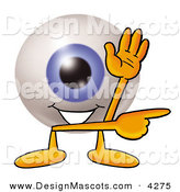 Stock Mascot Cartoon of a Grinning Eyeball Mascot Cartoon Character Waving and Pointing by Toons4Biz