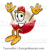 Stock Mascot Cartoon of a Grinning Fishing Bobber Mascot Cartoon Character Jumping by Toons4Biz