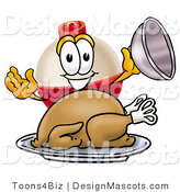 Stock Mascot Cartoon of a Happy and Hungry Fishing Bobber Mascot Cartoon Character Serving a Thanksgiving Turkey on a Platter by Toons4Biz