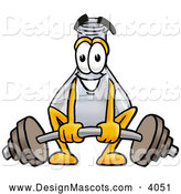 Stock Mascot Cartoon of a Happy and Outgoing Erlenmeyer Conical Laboratory Flask Beaker Mascot Cartoon Character Lifting a Heavy Barbell by Toons4Biz