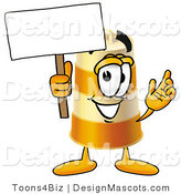 Stock Mascot Cartoon of a Happy Barrel Mascot Cartoon Character Holding a Blank Sign by Toons4Biz