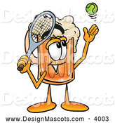 Stock Mascot Cartoon of a Happy Beer Mug Mascot Cartoon Character Preparing to Hit a Tennis Ball by Toons4Biz