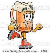 Stock Mascot Cartoon of a Happy Beer Mug Mascot Cartoon Character Roller Blading on Inline Skates by Toons4Biz