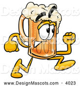Stock Mascot Cartoon of a Happy Beer Mug Mascot Cartoon Character Running by Toons4Biz