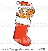 Stock Mascot Cartoon of a Happy Beer Mug Mascot Cartoon Character Wearing a Santa Hat Inside a Red Christmas Stocking by Toons4Biz