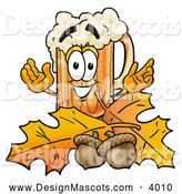 Stock Mascot Cartoon of a Happy Beer Mug Mascot Cartoon Character with Autumn Leaves and Acorns in the Fall by Toons4Biz